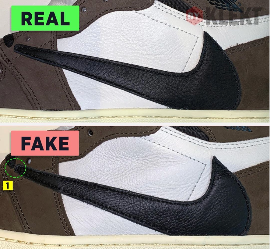 air jordan 1 travis scott false